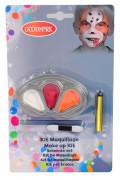 Schminkset Hundegesicht mit Make-up und Pinseln 5-teilig weiss-rot-orange