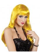 Langhaar Damen-Perücke mit Pony gelb