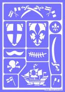 Ritter und Piraten Schmink-Schablone lila-weiss