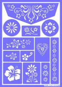 Make-up-Schablone Blumen wiederverwendbar lila