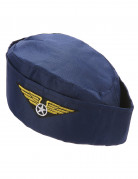 Stewardess Häubchen Mütze dunkelblau-gold