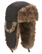 Flieger-Fellmütze Holzfäller-Mütze schwarz-braun