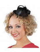 Gothic Mini-Hut mit Feder und Rose schwarz