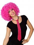Glitzer-Krawatte Karnevalsaccessoire mit Pailletten pink