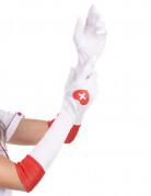 Krankenschwester Handschuhe mit Herz weiss-rot