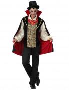 Graf Dracula Vampir-Herrscher Halloween Kostüm für Herren schwarz-gold-rot
