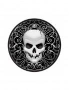 Totenkopf Teller Dessert-Teller für Halloween 8 Stück schwarz-weiss 18cm