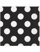 Papierservietten mit Punkten 16 Stück schwarz-weiss
