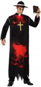 Zombie-Priester Halloweenkostüm Pfarrer schwarz-rot