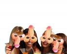Frivole Penis-Masken JGA-Masken 4 Stück hautfarben-rosa