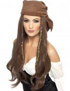 Piraten-Damenperücke Langhaar-Perücke mit Kopftuch und Haarschmuck braun