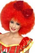 Riesige Afro-Damenperücke Clownsperücke mit Pailletten-Schleife rot
