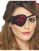 Piraten-Augenklappe für Damen mit Schleife und Spitze rot-schwarz