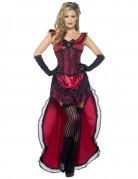 Sexy-Saloon-Tänzerin - Damenkostüm rot-schwarz