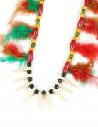 Indianer-Kette mit Federn Perlen und Stacheln bunt