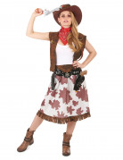Cowgirl Damen-Kostüm gefleckt braun-weiss