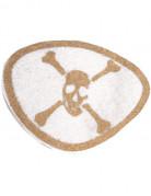 Piraten-Augenklappe mit Glitzereffekt Totenkopf-Motiv weiss-gold