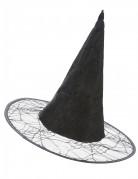 Halloween - Hexenhut mit Spitze schwarz