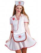 Krankenschwester Kostümset 3-teilig rot-weiss