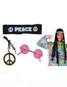 Hippie-Accessoire-Set Hippiekostüm-Zubehör 3-teilig bunt