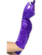 Satin Handschuhe lang lila