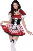 Sexy Rotkäppchen Märchen Damenkostüm schwarz-rot-weiss