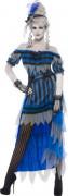 Untote Saloon Dame Kostüm schwarz-blau-grau