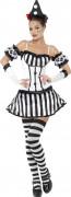 Clown Pantomime Damenkostüm schwarz-weiss