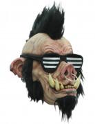 Halloween-Maske punkiges Wildschwein mit Nasenring Kostümaccessoire hautfarben-schwarz-weiss