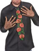 Halloween-Krawatte aus Latex Kürbismuster Kostümzubehör schwarz-orange-grün