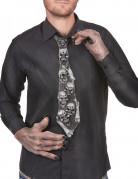 Halloween-Krawatte aus Latex Totenkopfmuster Kostümzubehör schwarz-orange-grün