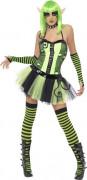 Verwunschene Elfe Halloween Damenkostüm Märchen grün-schwarz