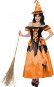 Märchen Hexe Damenkostüm orange-schwarz