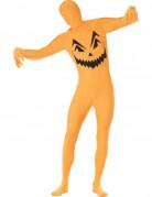Kürbis Second-Skin-Suit Halloweenkostüm orange-schwarz