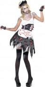 Zombie Zimmermädchen Halloween Damenkostüm schwarz-weiss-rot
