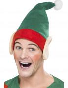 Weihnachtselfen-Mütze Weihnachtswichtel-Hut grün-rot-beige