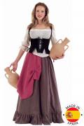 Mittelalter Tavernen Magd Damenkostüm weiss-lila