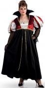 Vampir Königin Halloween Kostüm übergröße schwarz-weiss-rot