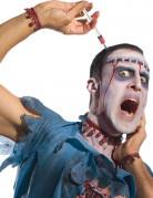 Halloween Haarreif Spritze mit Blut Accessoire schwarz-silber-rot