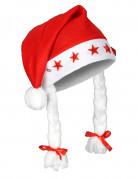 Weihnachtsmütze mit Leuchtsternen rot-weiss