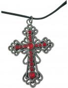 Strasskreuz-Halskette Kostümzubehör silber-rot