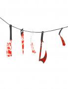 Blutige Girlande Folter Instrumente Halloween Party-Deko rot-bunt 118cm