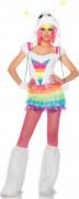 Süßes Alien Damenkostüm Regenbogen weiss-bunt