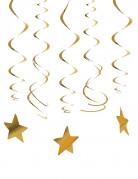 Sternen-Hängespiralen Weihnachtsdeko Silvesterdeko 30-teilig gold