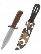 Kunststoffmesser mit Camouflage-Hülle Kostümaccessoire