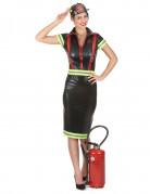 Sexy Feuerwehrfrau-Kostüm schwarz-gelb-rot