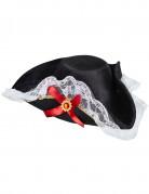 Piratenhut mit Spitze für Damen schwarz-weiß-rot