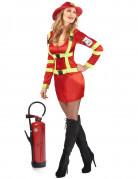 Feuerwehr Damen-Kostüm rot-gelb