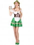 Süße Bayerin Damenkostüm grün-bunt