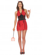 Teufelin Halloween Damenkostüm rot-schwarz